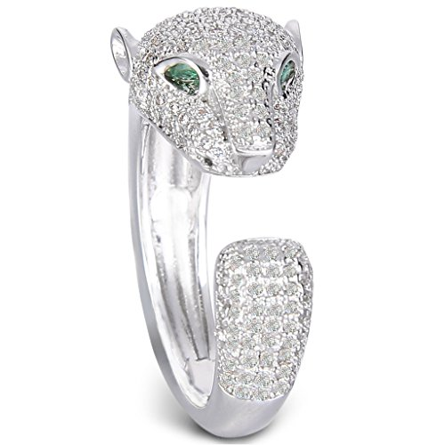 EVER FAITH Silver-Tone Zircon Art Deco Leopard Head Cuff Ring Clear Size 8 ()