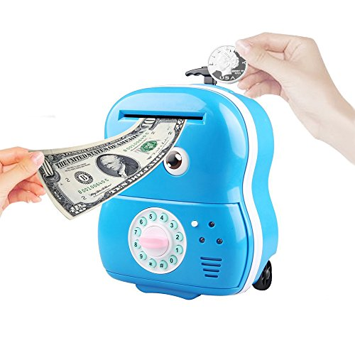 Just Us Big Eyes Cartoon Trolley Electronic Password ATM Piggy Bank with Music ,Blue Electronic Trolley