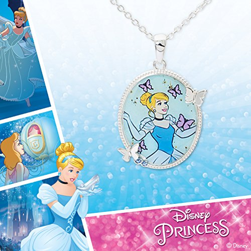 Disney Girls Cinderella Silver Plated Sapphire Crystal Pendant, 18'' by Disney (Image #5)