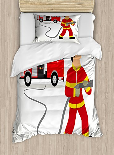 Twin Size Duvet Cover Set, Cartoon Fireman in Uniform with The Hose and Big Vehicle Profession Saving Lives, Decorative 2 Piece Bedding Set with 1 Pillow Sham, Multicolor ()