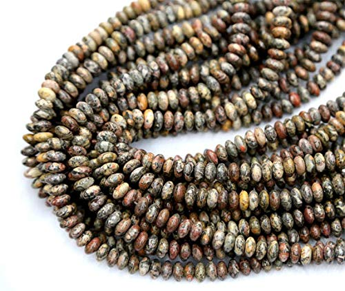 GemAbyss Beads Gemstone 1 Strands Natural Pink Brow Leopard Skin Jasper Rondelle Loose Beads Fit Jewelry Necklace Bracelets 4x8mm 15 Inch Long 03305 Code-MVG-23512