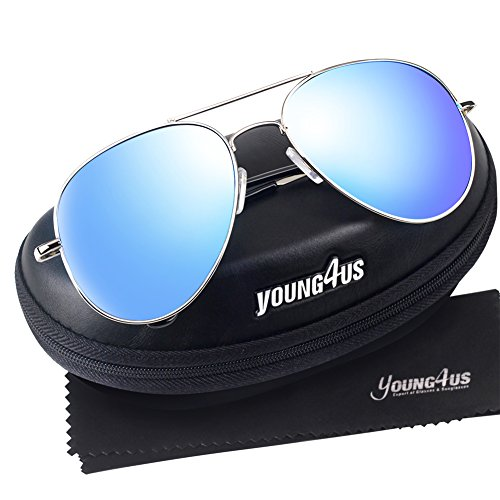 Color Prescription Costumes Contacts (Young4us Aviator Sunglasses Military Style Mirror Polarized UV 400 Protection Men Glasses)