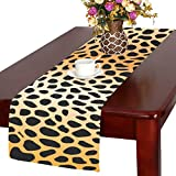 InterestPrint Leopard Skin Print Polyester Table Runner Placemat 14 x 72 inch, Wildlife Animal Fur Tablecloth for Office Kitchen Dining Wedding Party Home Decor