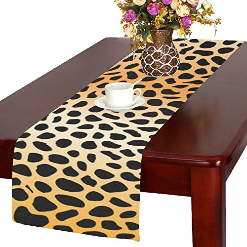 InterestPrint Leopard Skin Print Polyester Table Runner Plac