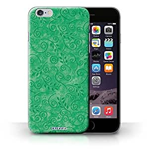 KOBALT? Protective Hard Back Phone Case / Cover for iPhone 6+/Plus 5.5 | Green Design | Swirl Leaf Pattern Collection