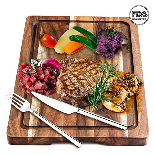 Reversible Board Cutting Wooden - AIJAI Wood Cutting Board for Kitchen(S-XL), Acacia - BEST Chopping Board for Vegetables, Fruit, Meat, Fish & Cheese| Reversible w/Juice Groove & Cracker Holder (M - 15x10x0.7 IN)