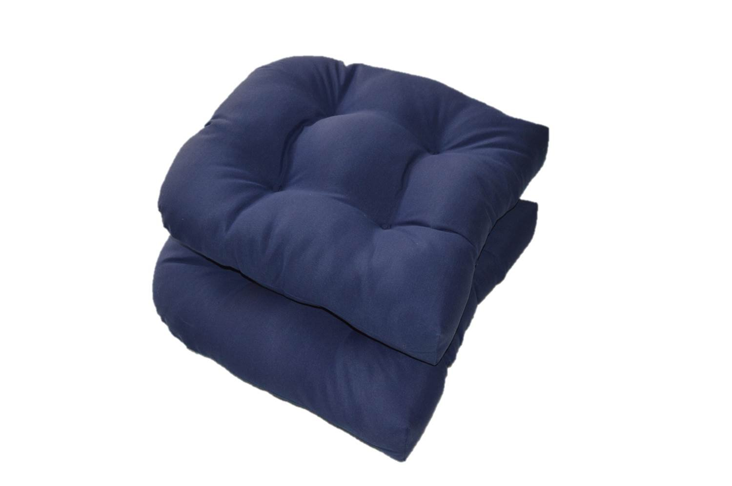 Superb Amazon.com: Set Of 2   Universal Tufted U Shape Cushions For Wicker Chair  Seat   Solid Navy Blue   Indoor / Outdoor: Home U0026 Kitchen