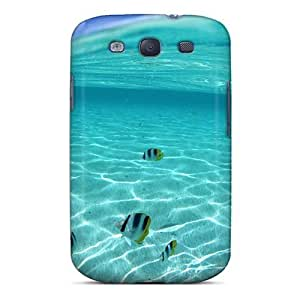 Galaxy S3 Case Cover - Slim Fit Tpu Protector Shock Absorbent Case (water Nature School Of Fish In Clear And)