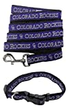 Colorado Rockies Nylon Collar and Matching Leash for Pets (MLB Official by Pets First) Size Small