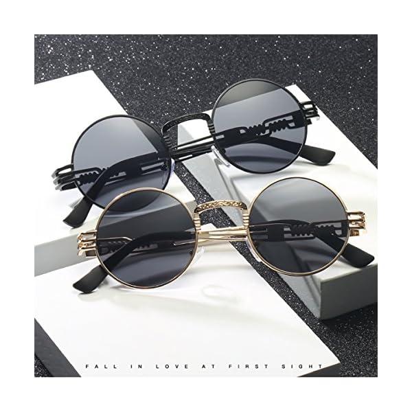 Dollger John Lennon Round Sunglasses Steampunk Metal Frame 3