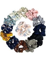 KECUCO 12A Colors Women's Chiffon Flower Hair Scrunchies Hair Bow Chiffon Ponytail Holder,Including 8 Colors Chiffon Flower Hair Scrunchies and 4A Solid Colors Chiffon Hair Ties (STYLE 1)