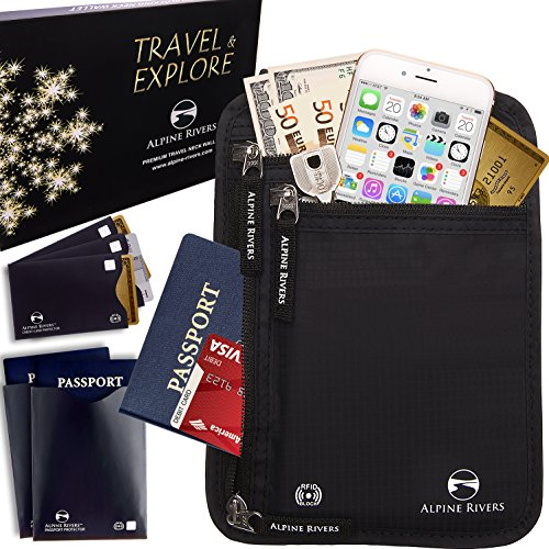 Neck Wallet Travel Pouch & Passport Holder RFID Blocking with 5 Bonus Sleeves Golfing Around Sports Bag