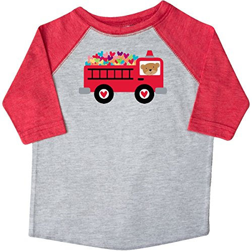 inktastic - Valentine Fire Truck Heart Toddler T-Shirt 2T Heather and Red c3ef from inktastic