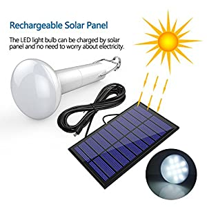 [Upgraded] Solar Powered LED Light Bulb - i-FSK Rechargeable Emergency Solar Lamp with rotable plug- in solar panel,S-120LM, Portable &Waterproof for Indoor Outdoor Barn Camping Hiking Home& Reading