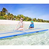 Goplus Inflatable Gymnastic Mat Professional Air Track Tumbling Mat with Pump for Home, Beach, Park and Water Use (L-Blue, 13'x 3.3'x 4'')