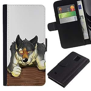 UNIQCASE - Samsung Galaxy Note 4 SM-N910 - The Werewolf - Cuero PU Delgado caso cubierta Shell Armor Funda Case Cover