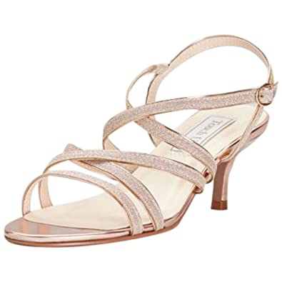 f6f682e3b0 David's Bridal Strappy Crisscross Low Metallic Heels Style Emery, Rose Gold,  ...