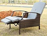 Merax Outdoor Wicker Patio Adjustable Recliner Chair Lounge with Cushions (Grey)