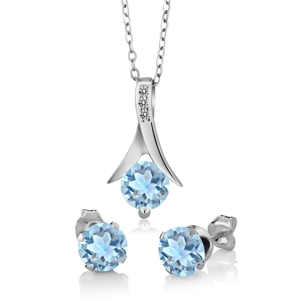 2.30 Ct Sky Blue Aquamarine White Diamond 925 Sterling Silver Pendant Earrings Set by Gem Stone King