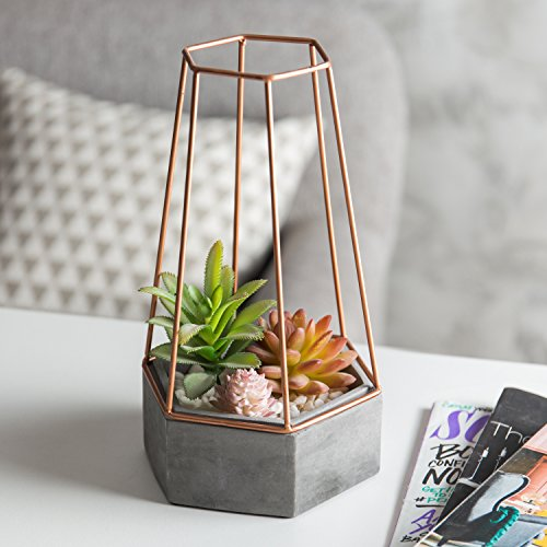 MyGift Hexagonal Clay Succulent Planter with Copper-Tone Metal Wire Frame (Vase Gold Geometric)