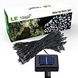 LE® Solar Powered LED Fairy String Lights 100 LEDs 55ft/17m, Waterproof, Daylight White, Christmas Lights with Light Sensor, Ambiance Lighting, Outdoor and Indoor Use, Wedding, Party, Halloween Lights Decoration