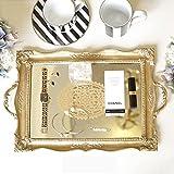 Decorative Jewelry Trays,Retro European Style Jewelry Boxes Tray Gold Mirror Cosmetics Storage Decoration