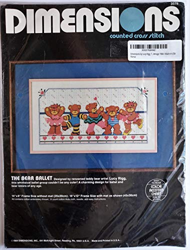 Dimensions by Lucy Rigg, The Bear Ballet Counted Cross Stitch Kit #3578 Retired / Vintage 1984 / Made in USA