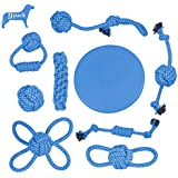Plazenzon Dog Rope Toys Set of 9 Indestructible Puppy Chew Teething Toys and Flying Disc Toy Assortment for Small Medium Dogs