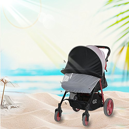 LianLe Universal Baby Mosquito Net For Stroller, Baby Stroller Universal Mosquito Net Sun Shade Anti-UV Foldable Mosquito Net, Pram Bed Cot Car Seat & Pushchair Baby Stroller Insect Net by LianLe (Image #1)