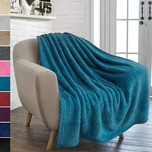(PAVILIA Plush Sherpa Throw Blanket for Couch Sofa | Fluffy Microfiber Fleece Throw | Soft, Fuzzy, Cozy, Lightweight | Solid Blue Turquoise Blanket | 50 x 60 Inches)