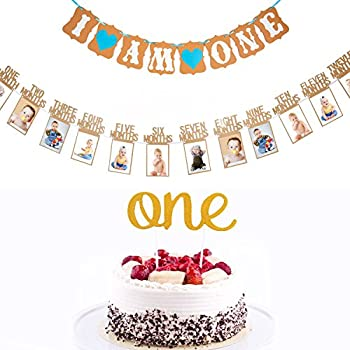 5b18139bf46 delicate 1st Birthday Glitter Decorations - Monthly Milestone Photo banner  for Newborn to 12 months.