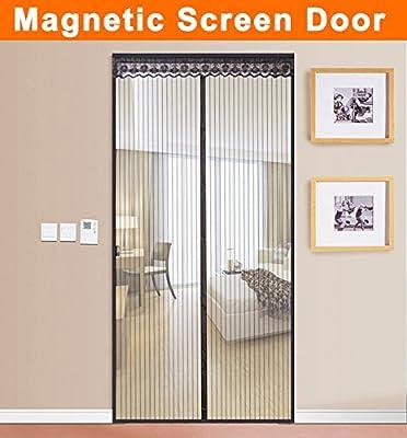 Magnetic Screen Door Full Frame Velcro Magic Mesh Curtain Screen Fits Door