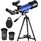 ExploreOne Telescope, 70mm Apeture Astronomy Refracter Telescope 400mm AZ Mount, Travel Scope