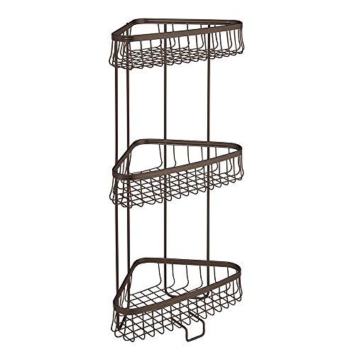 InterDesign York Lyra Free Standing Bathroom or Shower Corner Storage Shelves for Towels, Soap, Shampoo, Lotion, Accessories - 3 Tier, Bronze durable modeling