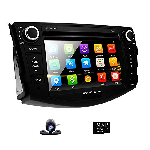 Bluetooth Stereo Original (Double Din Radio Car Stereo with Navigation for Toyota RAV4 2006-2012 Bluetooth Head Unit 7 inch indash DVD Touch Screen GPS SD USB Remote Steering Wheel Control)