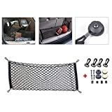 Younglingn Universal 39.37x15.75 Inch Elastic Nylon Car Hatchback Rear Luggage Cargo Trunk Storage Organizer Net And 4 Hooks Mounting Points