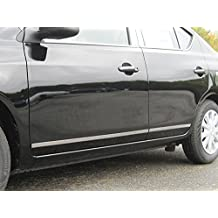 """VERSA 2012-2016 NISSAN (4 Pc: SS Rocker Panel Body Accent Trim, 1"""" wide - Upper Kit: Bottom of molding DOWN to the specified width - between wheels ONLY, 4-door) TH12532:QAA"""