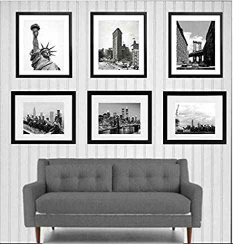 Amazon Com Framed New York City Art Pints Black And White Vintage Prints Of New York Black Picture Frames Solid Wood Real Glass Set Of 6 Posters Prints