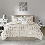 Intelligent Design Raina Comforter Set, Full/Queen, Ivory/Gold