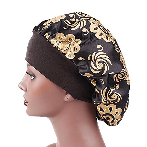 Stain Sleeping Cap for Women, Clearance Sale! Iuhan Luxury Wide Band Satin Bonnet Cap Wide-brimmed Comfortable Night Sleep Hat Hair Loss Cap (B)