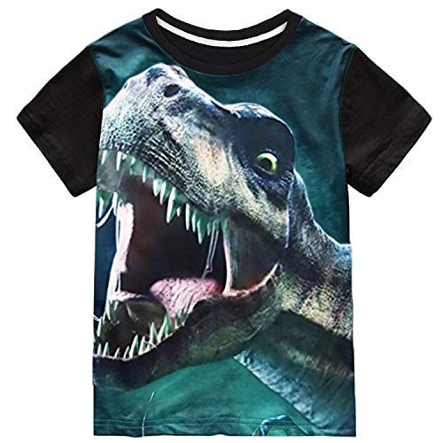- Tkria Boys Tshirts Short Sleeve Tops for Kids Dinosaur T-Rex Toddler Clothes Black, 5T/4-5Years/120