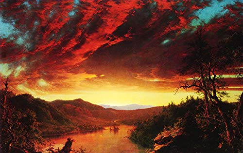 Church Oil Paintings - $50-$4000 Hand Painted Art Paintings by College Teachers - Twilight in The Wilderness Landscape LEMN1 Frederic Edwin Church Oil Painting Reproduction for Wall Decor Canvas Old Famous -Size03