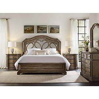 hooker furniture solana mirrored panel bed in light oak queen