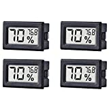 4-Pack Mini Hygrometer Thermometer Hygrometer Digital LCD Monitor Indoor Outdoor Humidity Meter Gauge for Humidifiers Dehumidifiers Greenhouse Basement Babyroom, Measure in Fahrenheit ℉ Display