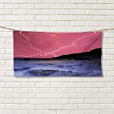 Chaneyhouse Nature,Hair Towel,Thunderstorm Bolts with Vibrant Colorful Sky Like Solar Phenomenal Nature Picture,Quick-Dry Towels,Pink Grey Size: W 8'' x L 23.5''