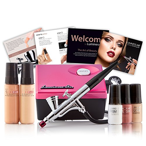 Luminess Air Pink & Black Legend Airbrush System with 5-Piece Silk 4-IN-1 Deluxe Airbrush Foundation & Cosmetic Starter Kit, Fair