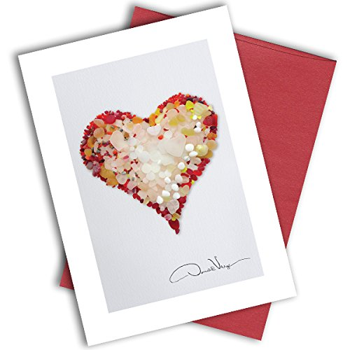 Single Red Sea Glass Heart Note Card. 3x5 Blank Card with Classy Envelope. Best Birthday Cards, Thank You Notes & Invitations. Unique Christmas, Mother's Day & Valentines Gifts for Women