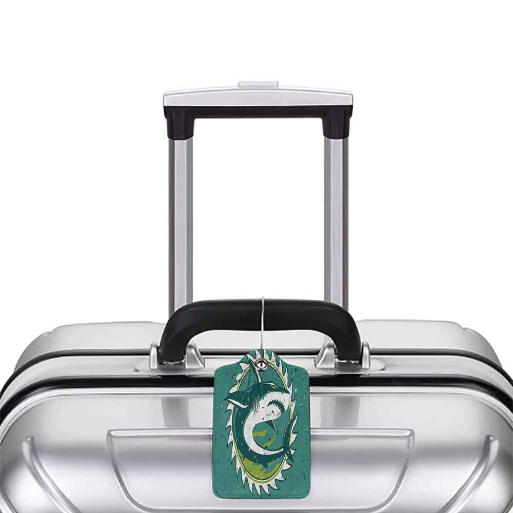 Multicolor luggage tag Sea Animal Decor Graphic of Shark Hunter in Dark Murky Colors Sharp Teeth Fish Marine Nautical Hanging on the suitcase Green W2.7 x L4.6