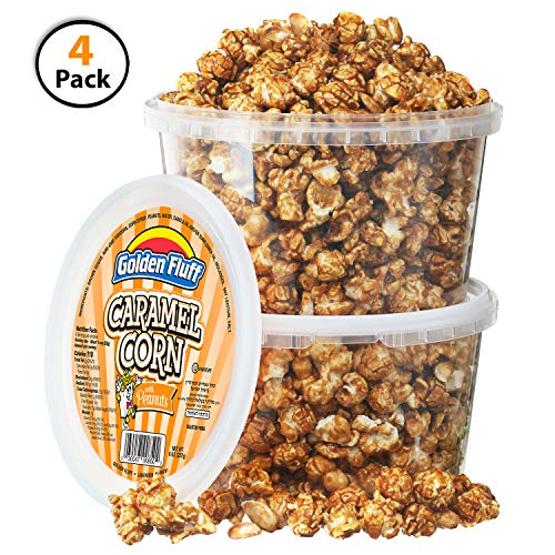 Caramel Covered Popcorn - Crunchy Caramel Popcorn Tubs With Peanuts [Pack of 4, 8 oz] | BONUS Bag Of Honey Roasted Peanuts | Resealable Plastic Containers, Sweet Flavor & Thin Caramel Coating