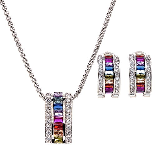 Multicolor AAA CZ Necklace & Earrings Jewelry Set Trendy Cubic Zirconia Omega Clip Earring Cable Chain